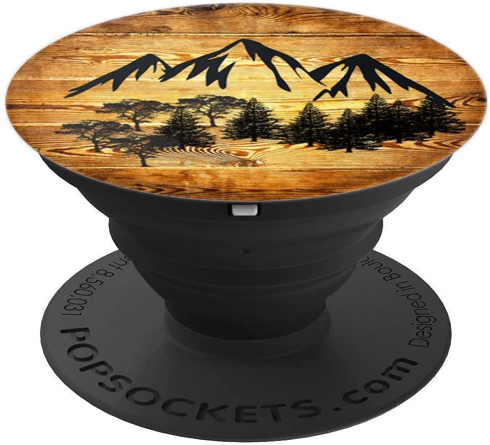 Wood Style Grain Boards Mountains Nature Rustic Hiking Mount PopSockets Grip and Stand for Phones and Tablets