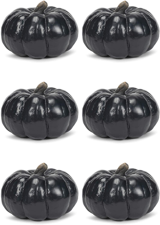 Elanze Designs Midnight Black 6 inch Resin Harvest Decorative Pumpkins Pack of 6