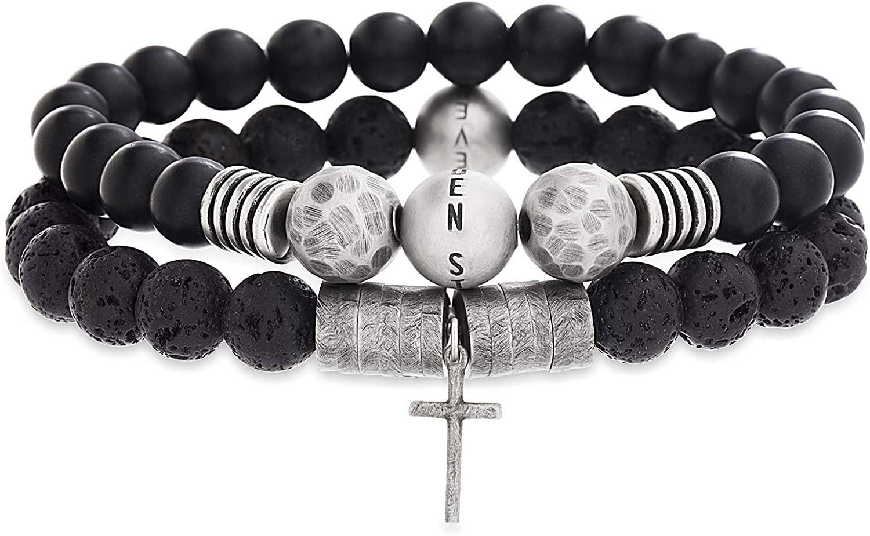 Steve Madden Stainless Steel Cross Charm Black Lava Stone Beaded Stretch Bracelet Set For Men, White (SMCBS488530-SBK), One Size