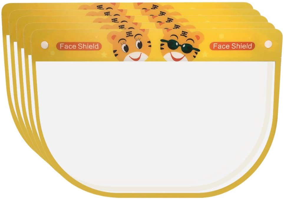 1/5/10/20 PCS Kids Full Shield Protector Face Mask Dust-proof for Outdoor Activities (5, Yellow-Tiger)