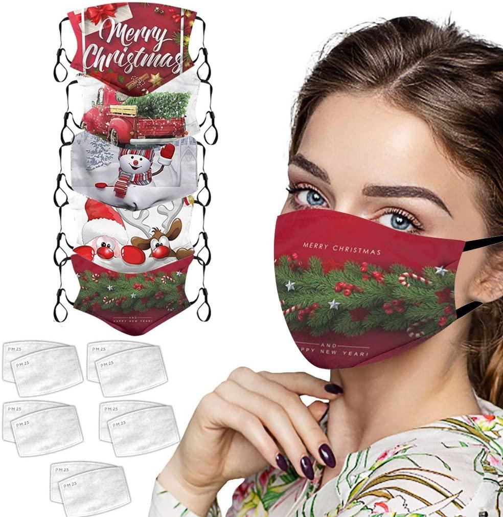 Saitingdianzi Anti Pollution Dust Protection,Face Dust Protection,Face Bandana with Filters, Dustproof Bandana, Fashion Christmas Pattern, Washable Reusable Fabric, 5Pcs+10 Filters