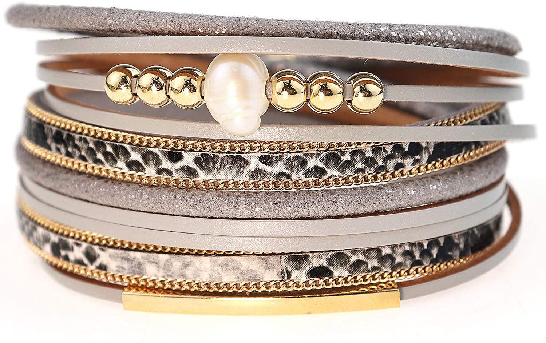 Suyi Leather Bracelet for Women Leopard Multilayer Wrap Bracelet Boho Birthday Gift