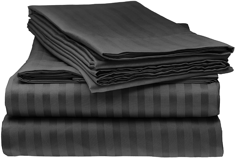 Elaine Karen Deluxe 8PC Sheet Set – 1800 Hotel Luxury Double Brushed Microfiber Bed Sheet - Deep Pocket – Fitted Sheet, Flat Sheet, Pillow Cases – King - Black