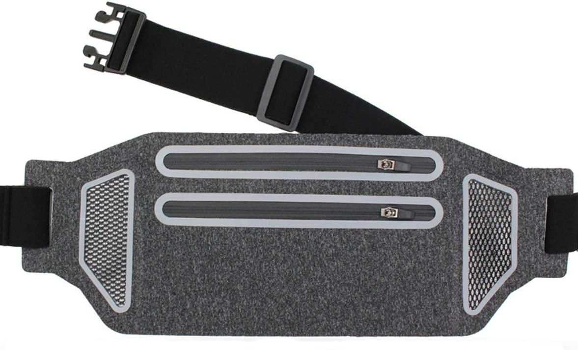Slim Reflective Running Belt Fanny Pack,Waterproof Adjustable Fitness Workout Exercise Waist Bag,2-Zipper Pockets Phone Holder for Running
