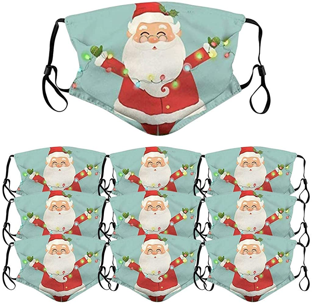 10PCS Adult Reusable Face Bandanas Christmas Print Breathable Washable Protection Dustproof Cotton Face Scarf