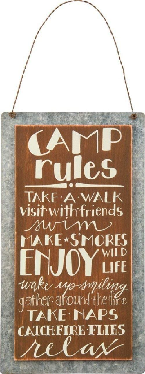 MAIYUAN Camping Sign Decor Camp Sign Camp Rules Take a Walk Visit with Friends Camper Wood Signs for Lake and Cabin Wall Decor 10x5(35BW2118)