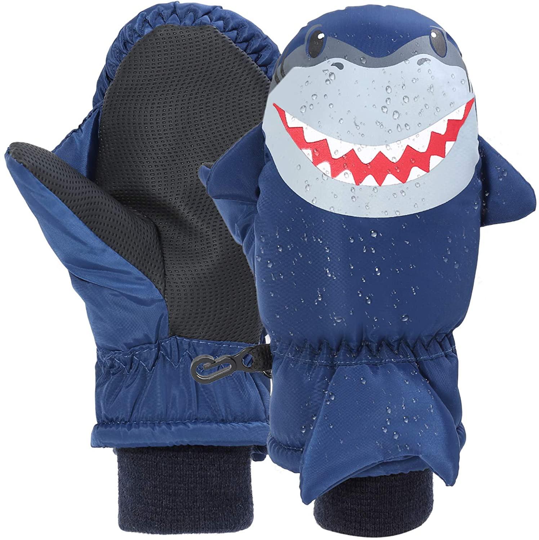 7-Mi Kids Winter Waterproof Ski Gloves Shark Warm Outdoor Sport Nylon Mitten for 3-6Y