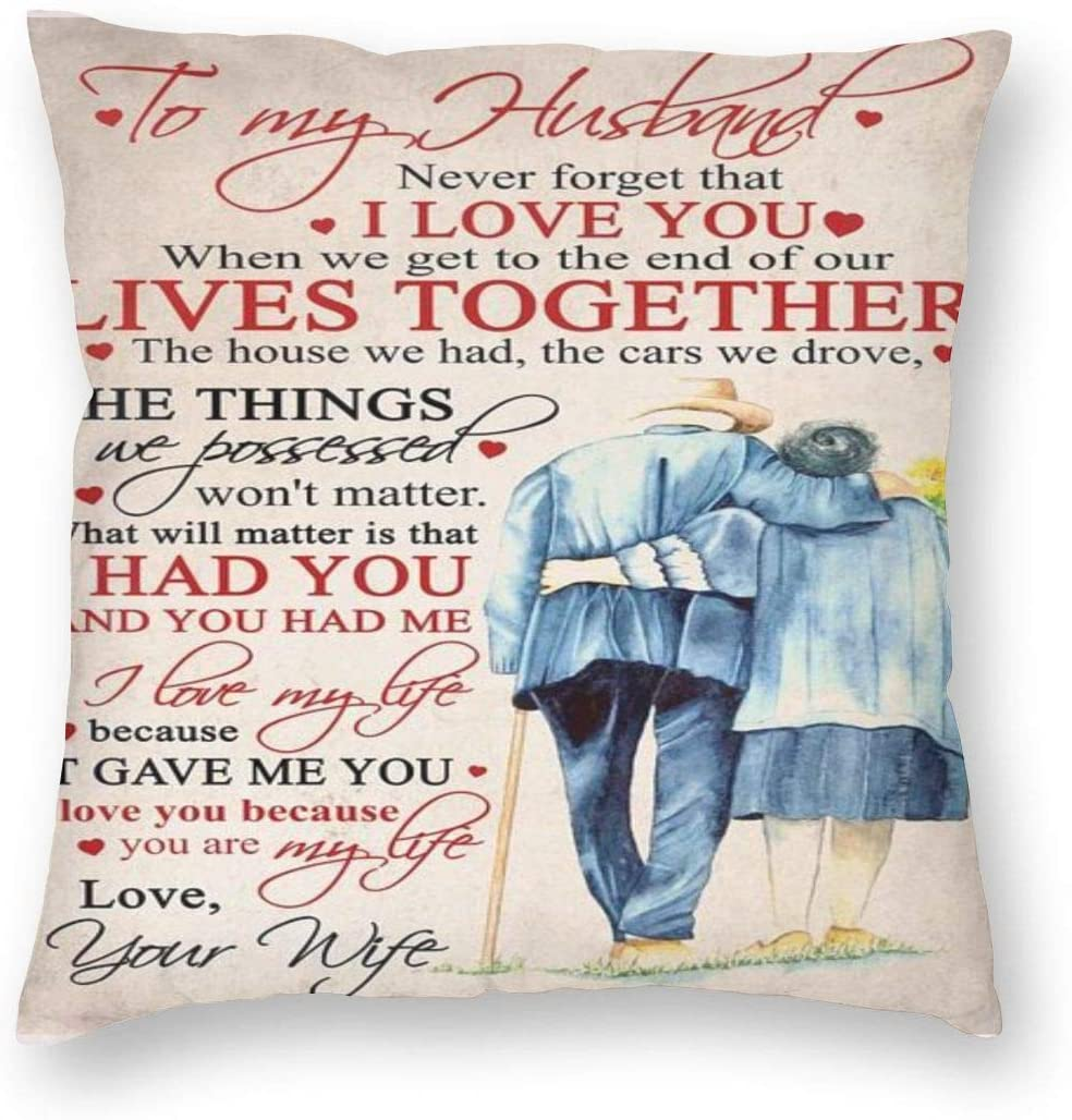 BBOID to My Husband Love You Throw Pillow Case Square Cushion Covers Insert for Home Office Couch Sofa Car Bedroom 18