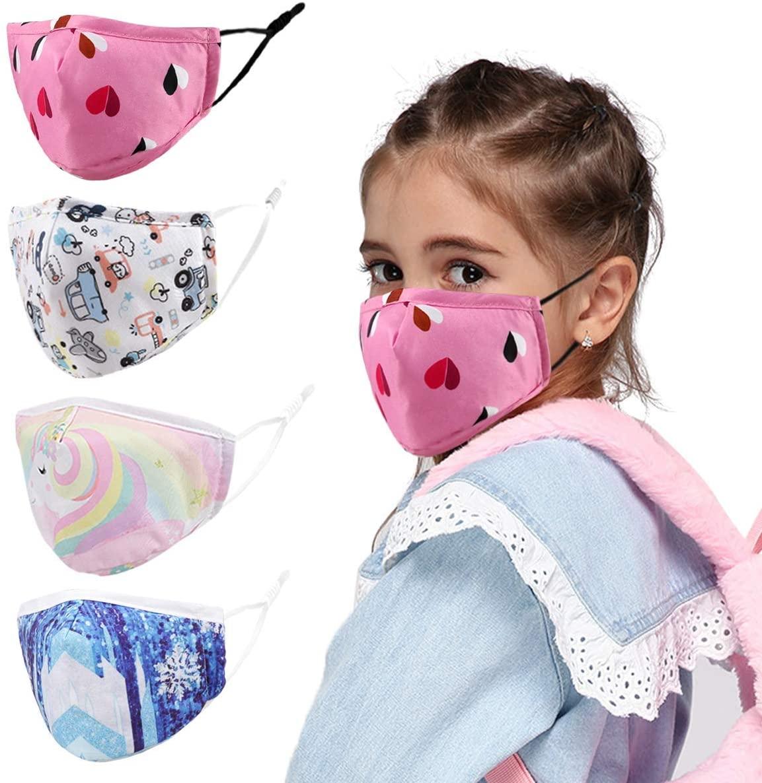 Genovega 4 Pcs Kids Cloth Face Mask - Cute Adjustable Washable Cotton Masks for Kids