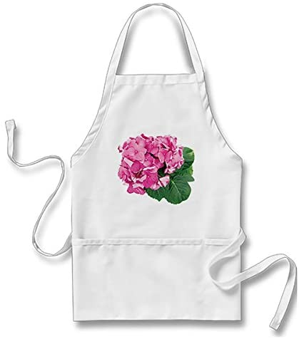 Starings Apron Small Cluster of Pink Geraniums Apron, White, One Size Fits Most