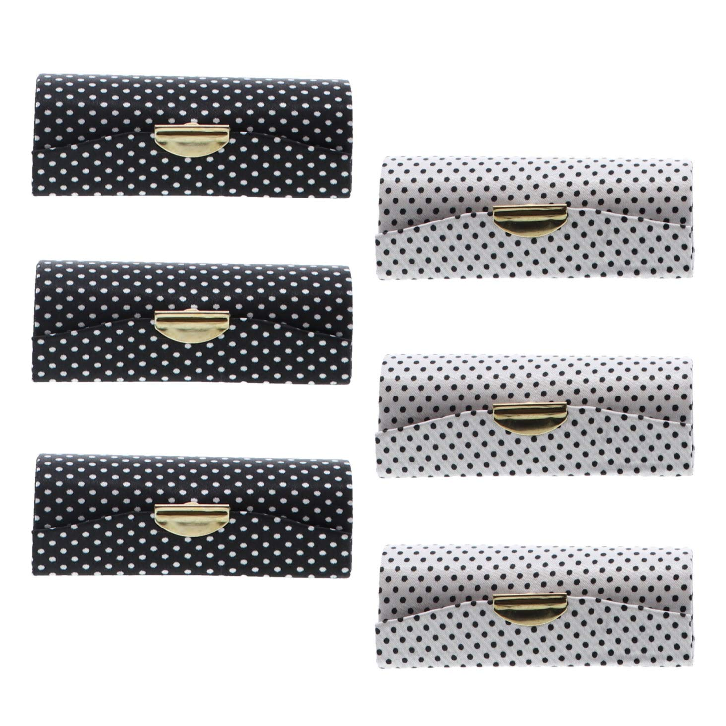 Black & White Ladies Polka Dot Lipstick Case With Mirror Set of 6