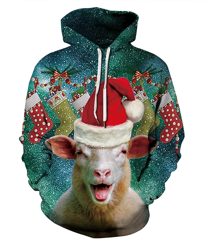 Fesfes Women's Mens Pullover Hoodie with Pockets Halloween Christmas 3D Santa Claus Sheep Print Sweatshirt Outwear Sweater