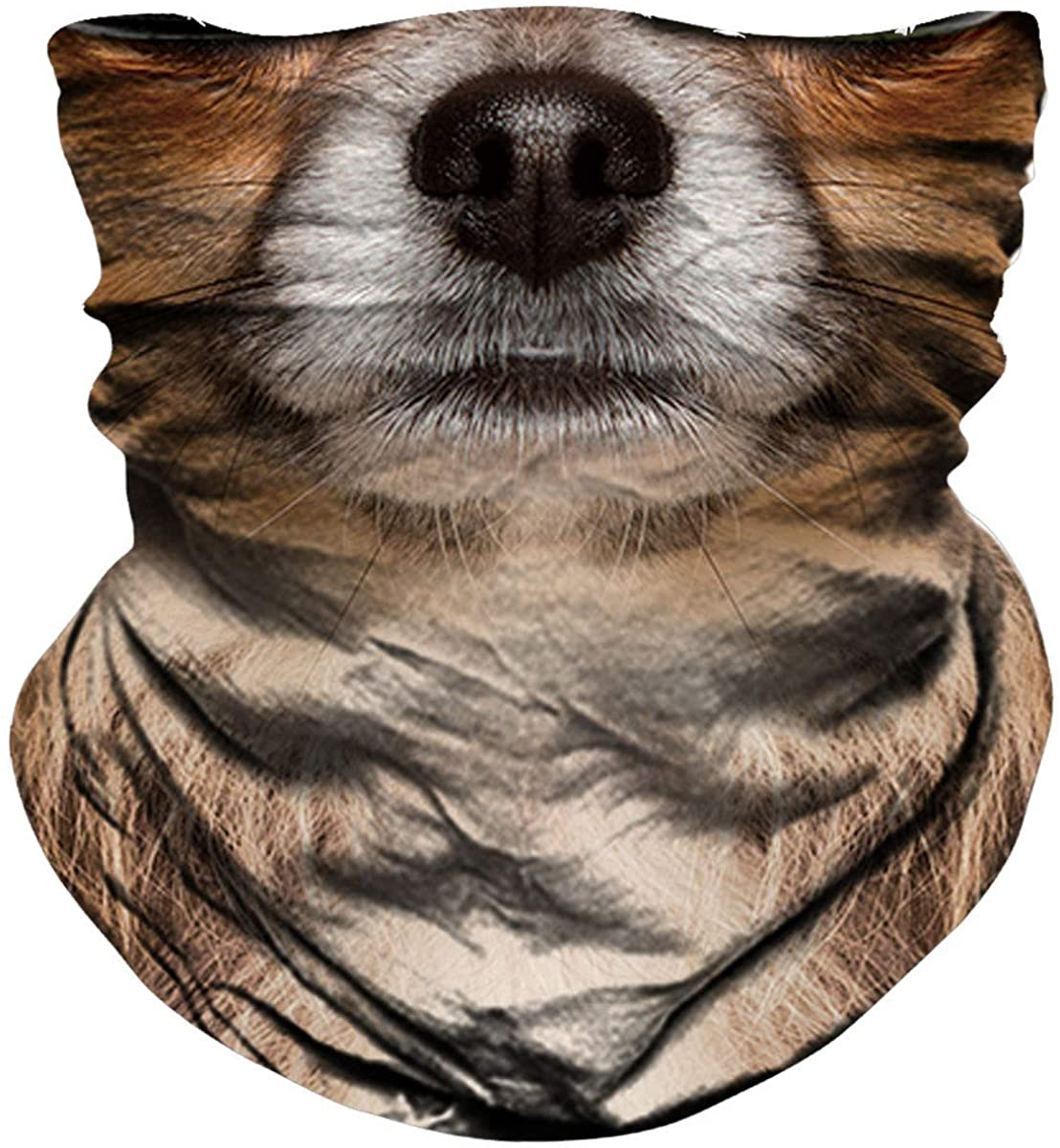NTBOKW Neck Gaiter Animal Face Mask Bandana for Sun Dust Wind Protection Mask for Motorcycle Riding Fishing Hunting Festival Outdoor 3D Seamless Mask for Men Women