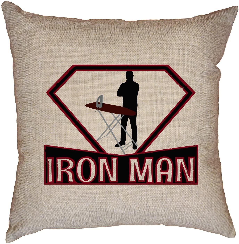 Hollywood Thread Iron Man - Domestic Dad Super Hero - Symbol Decorative Linen Throw Cushion Pillow Case with Insert