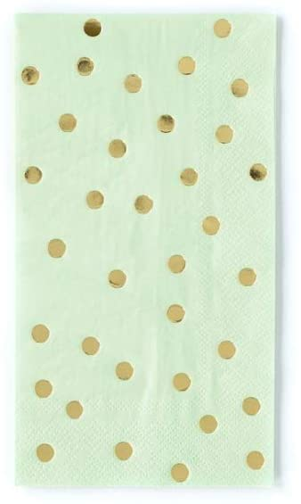 Gold Accent Polka Dot Disposable Guest Towels | 8