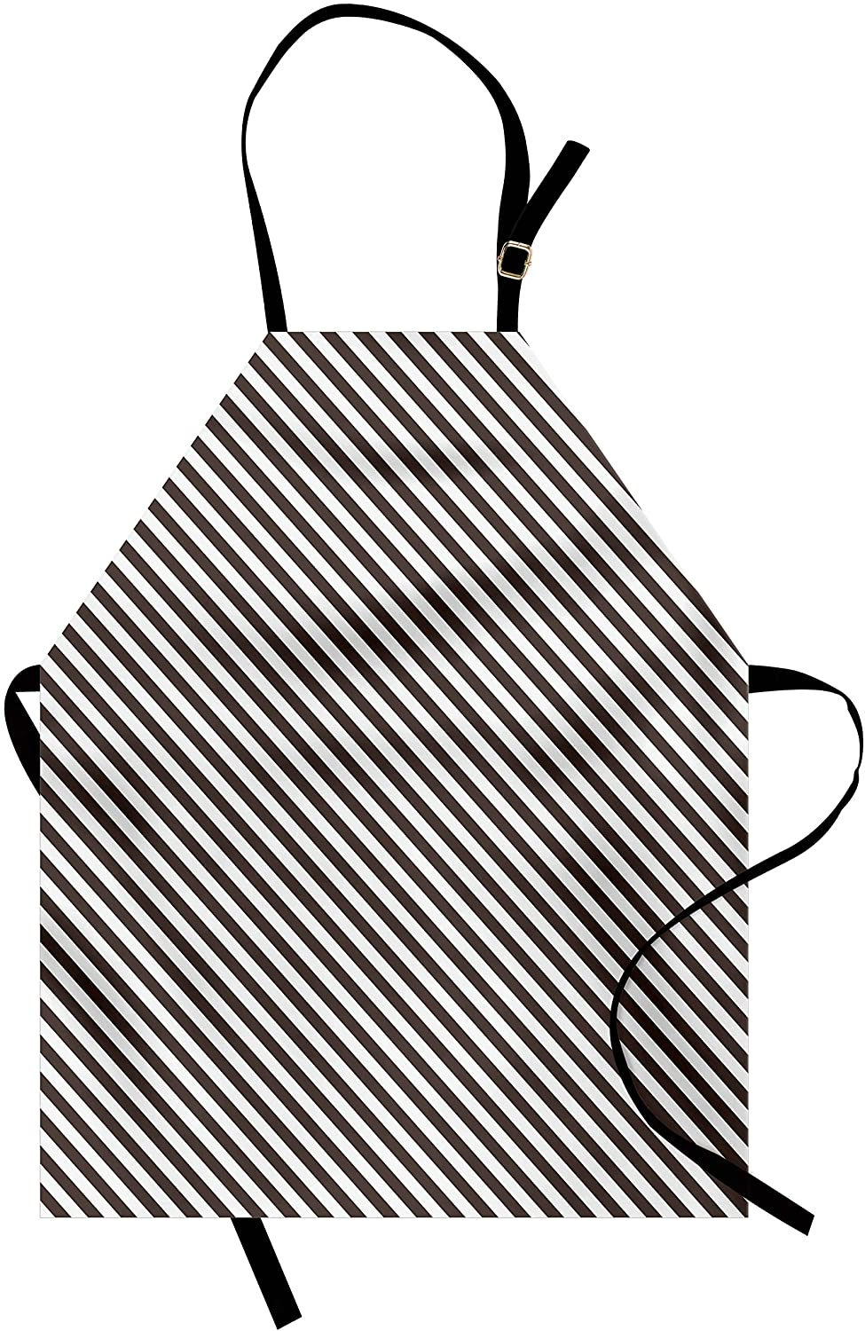 Lunarable Retro Apron, Conventional Striped Pattern in White and Dark Brown Old Fashioned Classic, Unisex Kitchen Bib Apron with Adjustable Neck for Cooking Baking Gardening, Dark Brown White