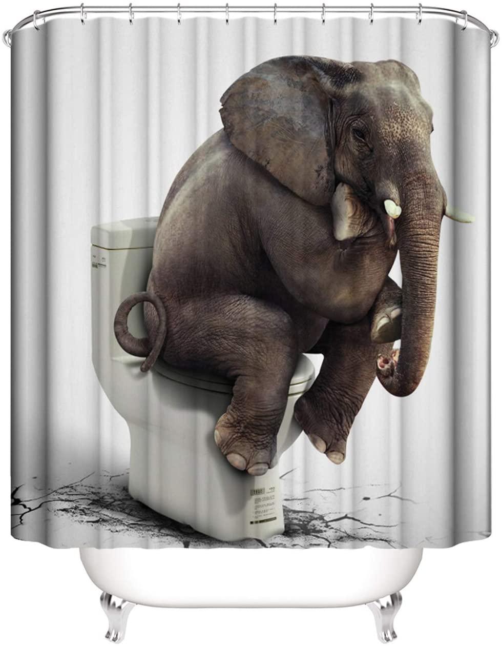 Elephant Shower Curtain Funny Indian Elephant Sitting on Toilet Design Kids Animal Shower Curtains for Bathroom 70.86x70.86 Inch Waterproof Fabric Bathroom Decor with Hooks-Toilet elephant