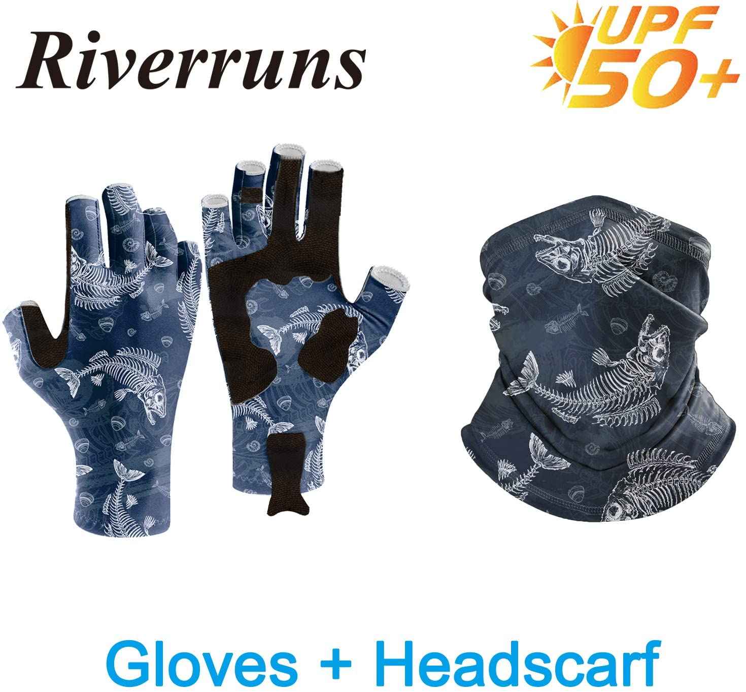 Riverruns UPF 50+ Fingerless Fishing Gloves with Headscarf Neck Gaiter- Fly Fishing Gloves Sun Gloves and Neck Gaiter for Men and Women Outdoor, Kayaking, Rowing, Sailing, Cycling and Driving.
