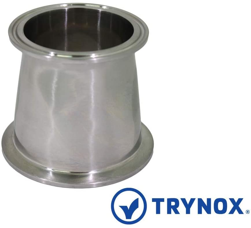 Trynox Sanitary Fitting Reducer Fitting SS304 Tri Clamp Stainless Steel For use in Brewing 304 3'' X 2-1/2''