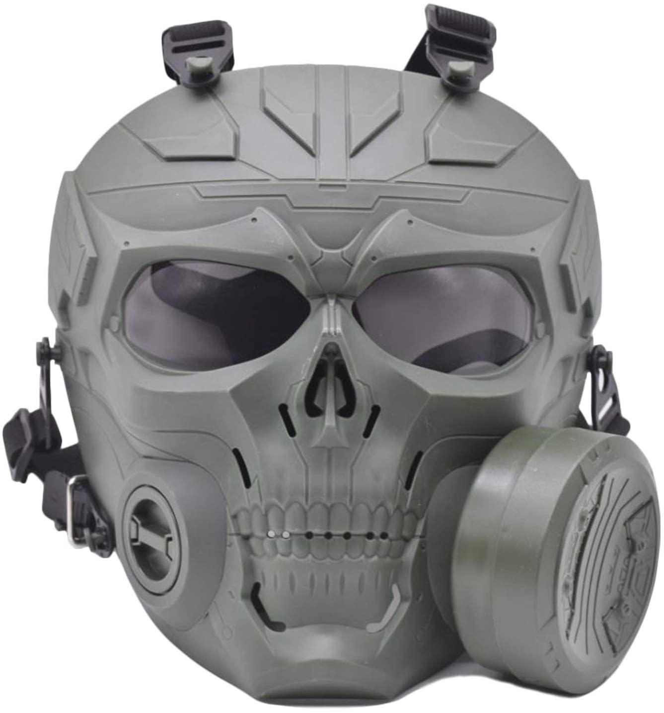 Updated Version M10 Airsoft Mask Tactical Protective Adjustable Skull Full Face Mask Dummy Game Mask with Anti-Fog Fans Adjustable Strap for Airsoft Paintball Cosplay Costume Party