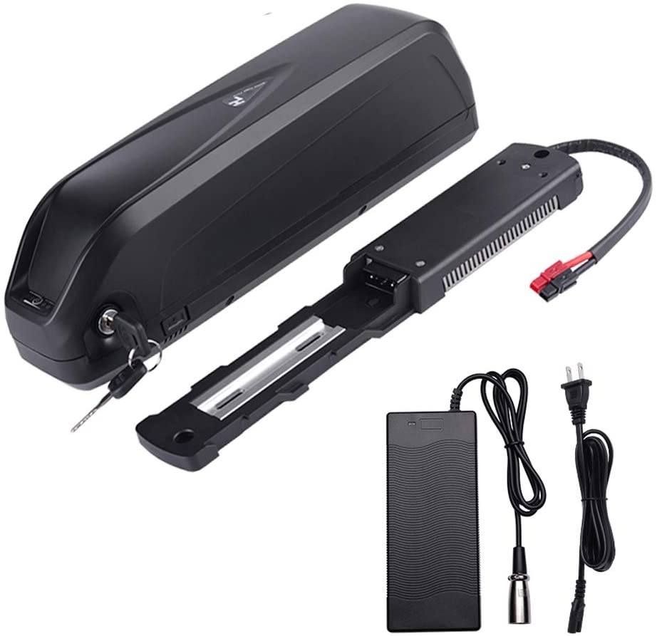 Ebike Battery 48V 14.5AH with Charger, Battery fix Plate and Part Electric Bike Downtube Battery with for Power Display, Gold-Plated Discharge Port, Safety Lock, USB Interface, Switch