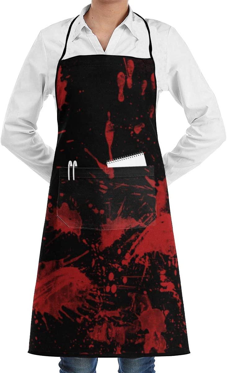NiYoung Professional Kitchen Bib Aprons Men Pocket Washable Use Kitchen, Home, Restaurant, Cafe, Cooking, Baking - Classic Horror Blood Splatter Black Red