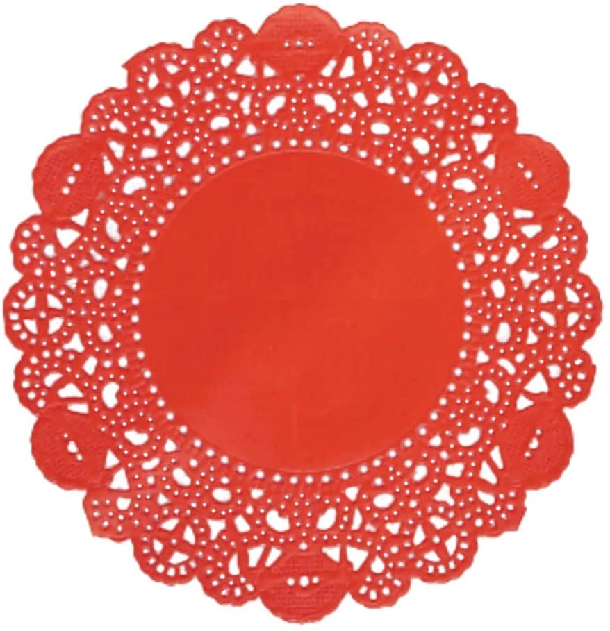 Doilykorea - 250pcs. Premium 12inch Red Round Lace paper doilies - Non-Dust, Clean Cut, Simple design : Party/Gift/for Cake Crafts/Home Decoration Weddings Table settings Placemats [12