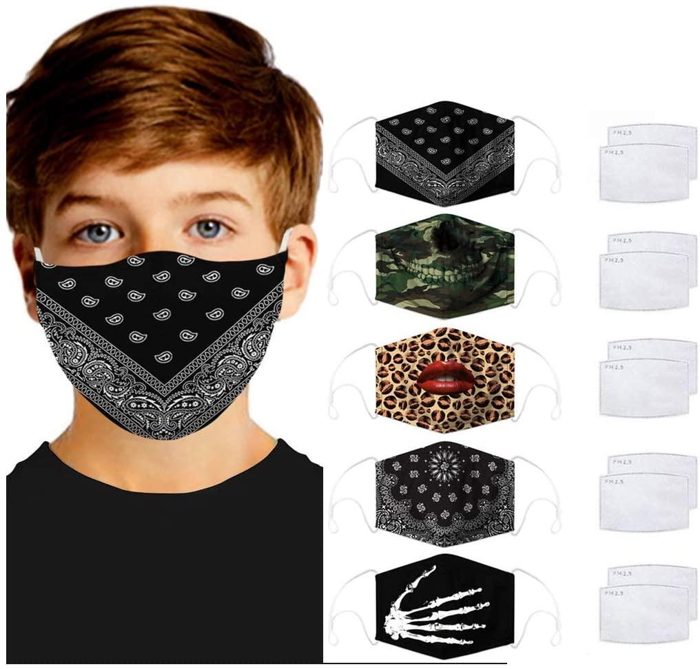 Frunalte Child Students Bandanas, Halloween Kawaii Pattern Breathable Reusable Washable Bandanas, Adjustable Balaclavas Face_Bandanas, for Kids