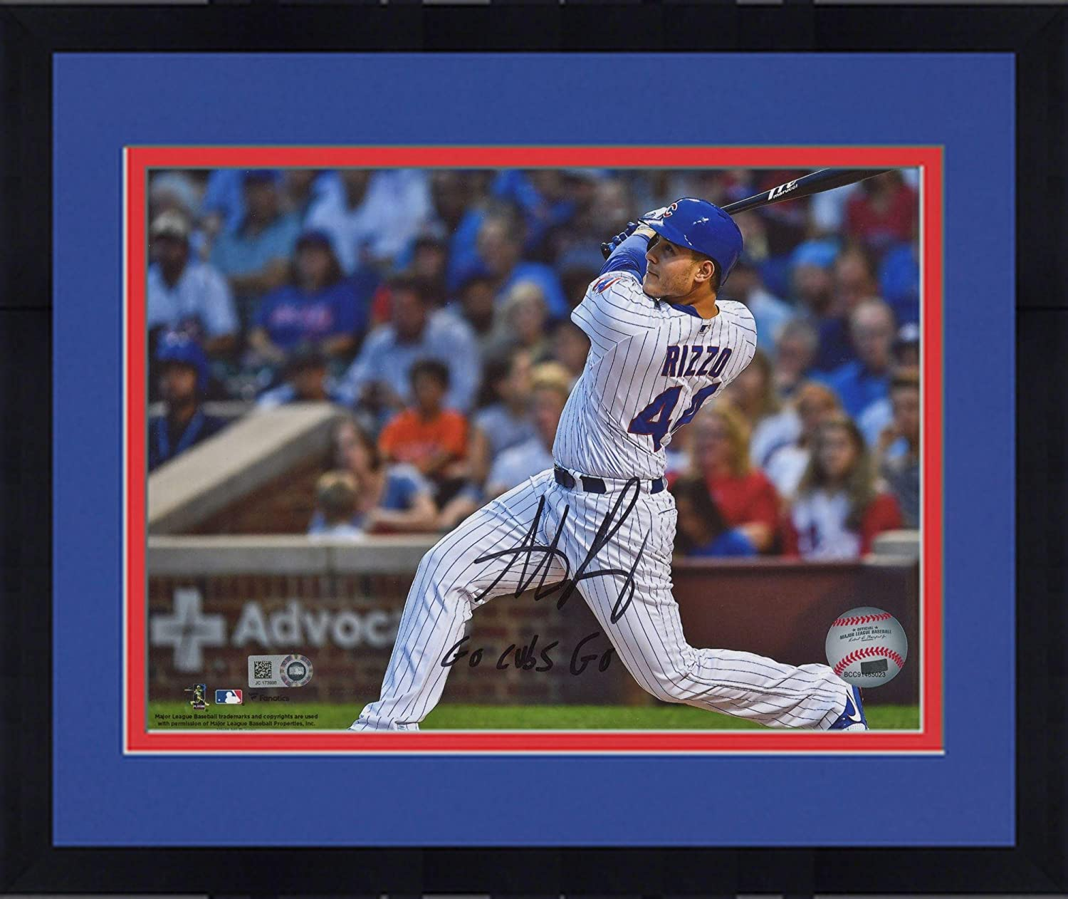 Framed Anthony Rizzo Chicago Cubs Autographed 8
