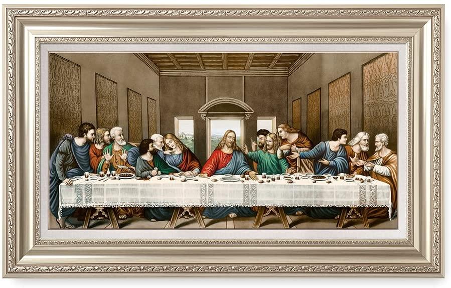 DECORARTS -The Last Supper, Leonardo da Vinci Classic Art Reproductions. Giclee Print& Ash Silver Museum Quality Framed Art for Wall Decor. 30x16, Framed Size: 36x22