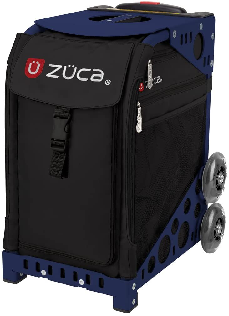ZUCA Obsidian Sport Insert Bag and Navy Blue Frame with Flashing Wheels