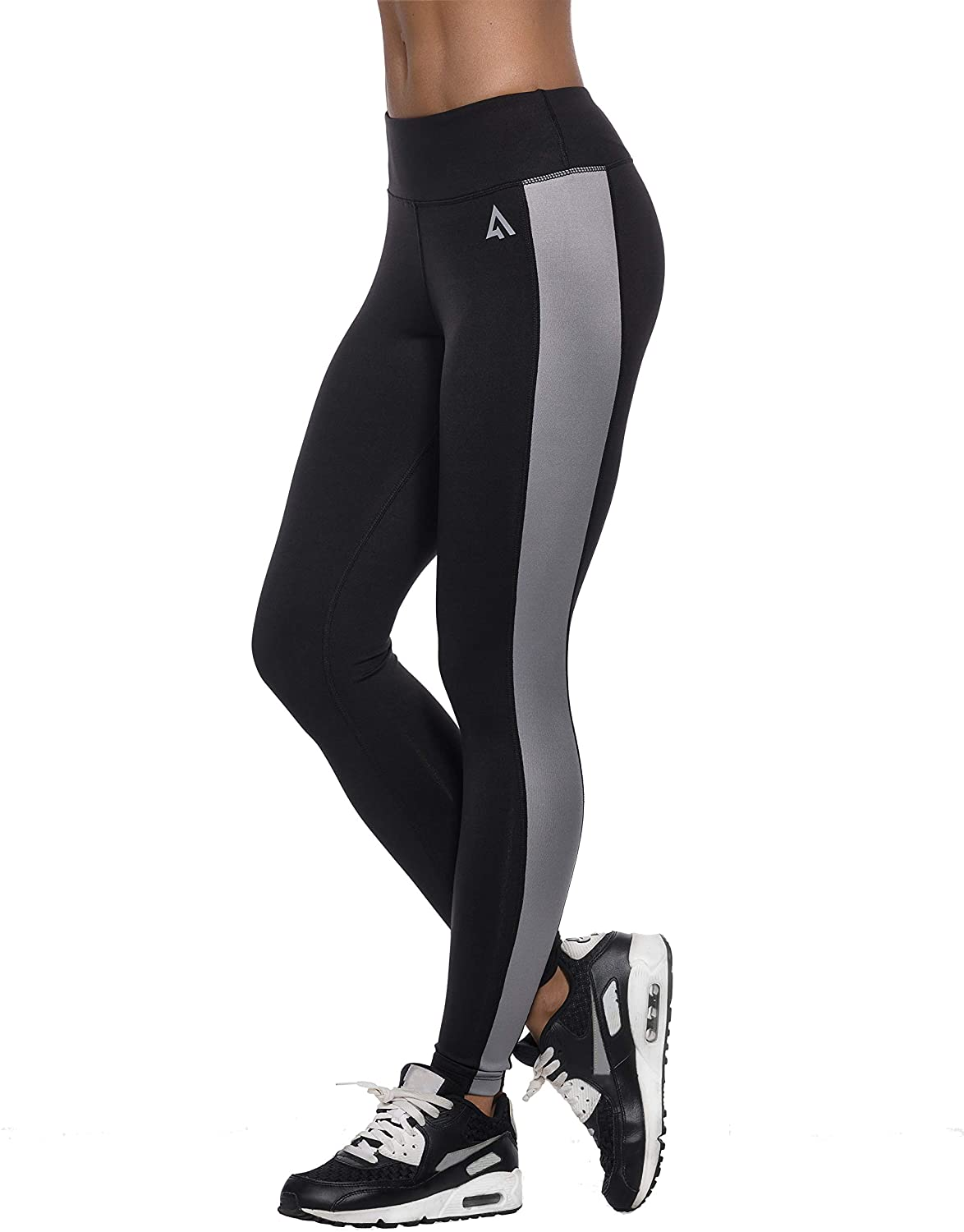 Premium USA Sports Leggings for Women | for Active & Relaxing Workout Activities Black/Grey