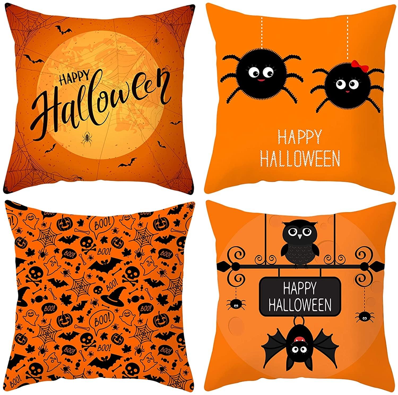 JooMeryer Halloween Print Throw Pillow Covers Pumpkin Bat Pillowcases Soft Cushion Cover Pillow Protectors 4pcs,Halloween Bat,18