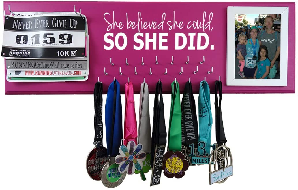 Running On The Wall Medal Hanger Display and Race Bibs SHE Believed SHE Could, SO SHE DID Picture Frame Design