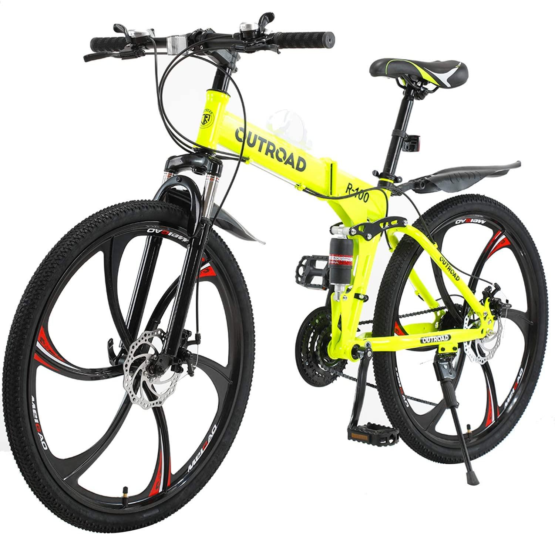 PanAme 26 Inches Folding Mountain Bikes, 21 Speed 6-Spoke Shining SYS Double Disc Brake, Full Suspension Anti-Slip Bicycle for Man/Woman/Teen