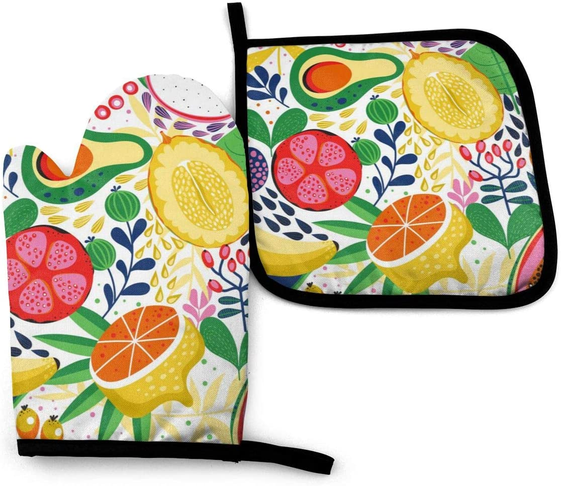 nobran Kinds of Colorful Fruits Oven Mitts and Pot Holders Sets with Hanging Loop Non-Slip Heat Resistant Kitchen Accessories with Premium Insulation Ideal for Handling Hot Kitchenware