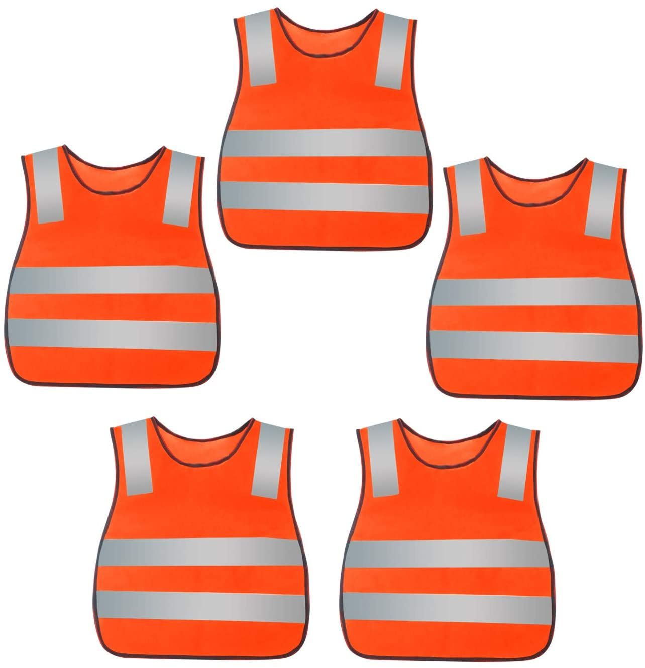 YIKYI 5 Pack Eflective Vest Safety Vest For Kids Outdoor's Running Jogging Walking Construction Cycling