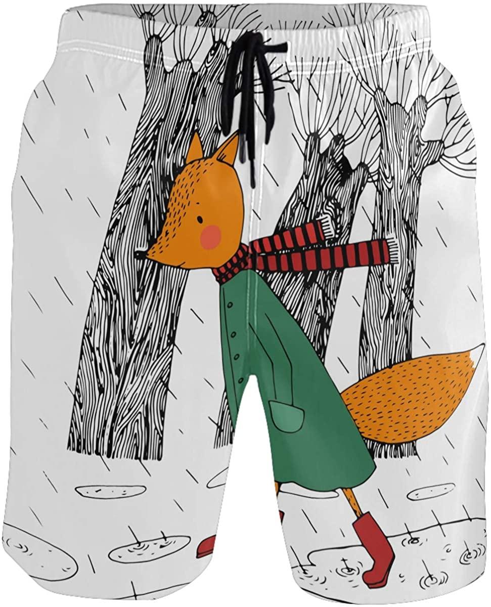 Kaariok Fox Trees Rain Animal Men's Swim Trunks Quick Dry Shorts with Mesh Lining