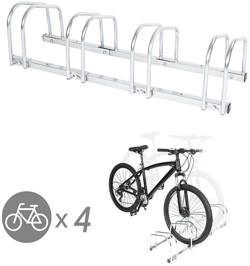 EBTOOLS Bicycle Floor Parking Stand, 4 Hole Steel Bike Bicycle Storage Rack Wheel Holder