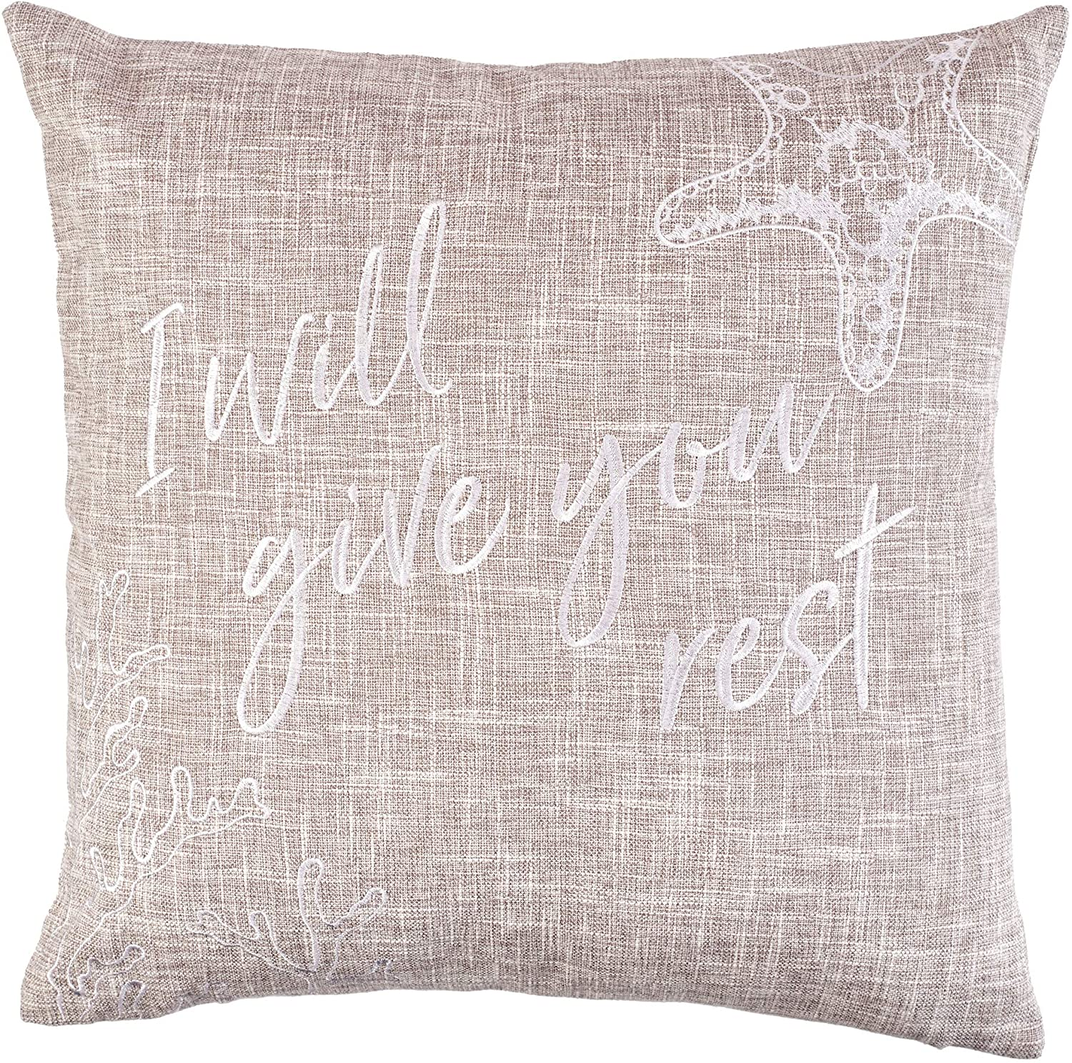 Christian Art Gifts Decorative Throw Pillow | Give You Rest – Mathew 11:28 | Embroidered Tan Couch Pillow and Inspirational Home Decor (18 x 18, Give You Rest - Tan)