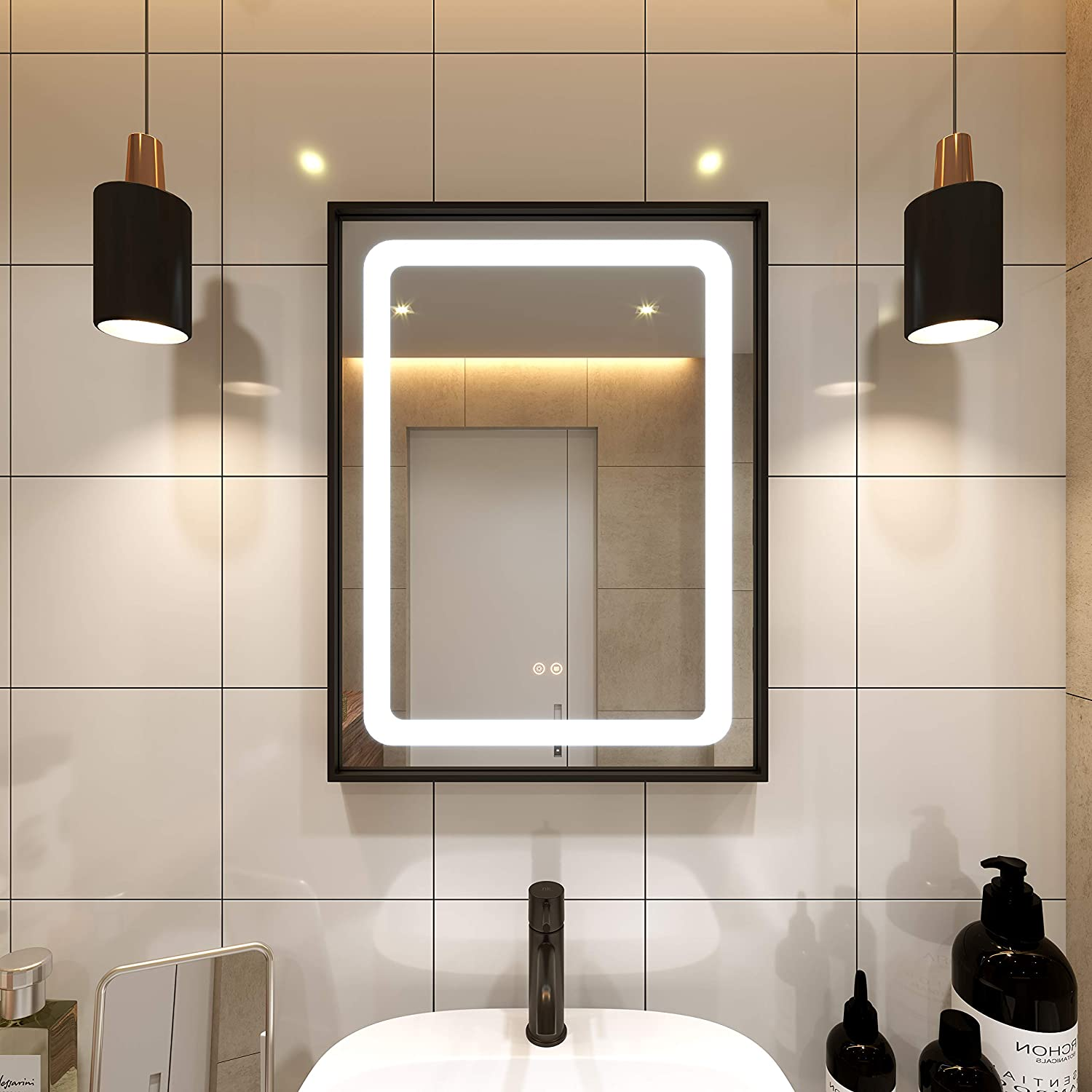 Petus PetusHouse 20 X 28 Inch LED Lighted Bathroom Mirrors, Wall Mounted Black Frame White Light Dimmable Defogger Memory Button Waterproof CRI>90 5MM Copper Free Salon Mirrors