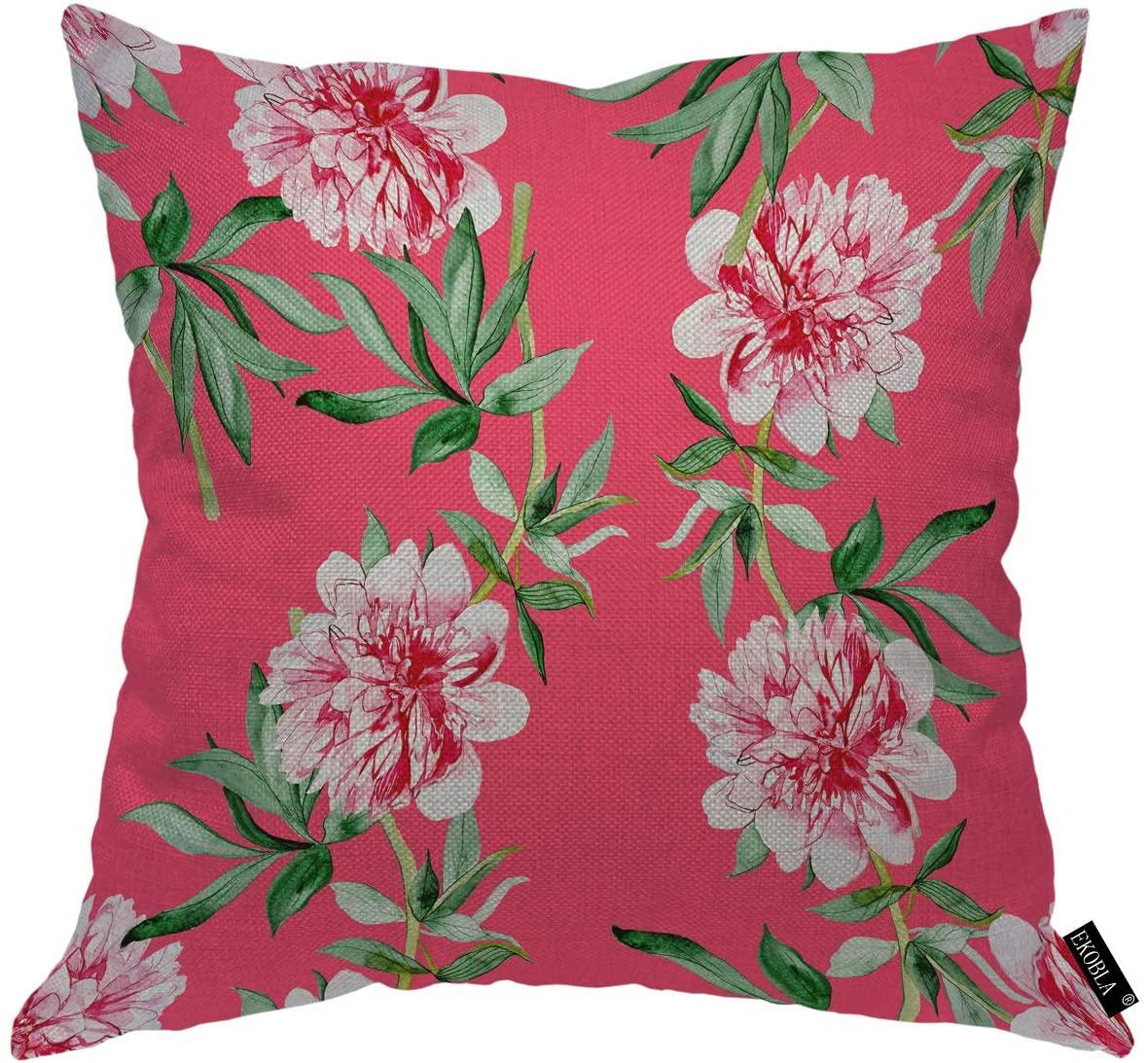 EKOBLA Peony Throw Pillow Covers Watercolor Flowers Elegance Green Leaf Artistic Botanical Blossom Decorative Square Cushion Case for Men Women Boys Girls Home Decor Cotton Linen 20x20 Inch