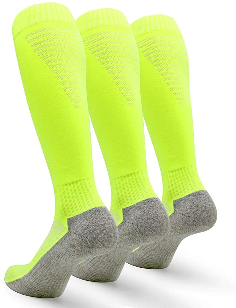 Petrala Soccer Socks Men Cushioned Cotton with Breathable Mesh Knee High Team Sock for Adult Athletic Gifts,3 Pack