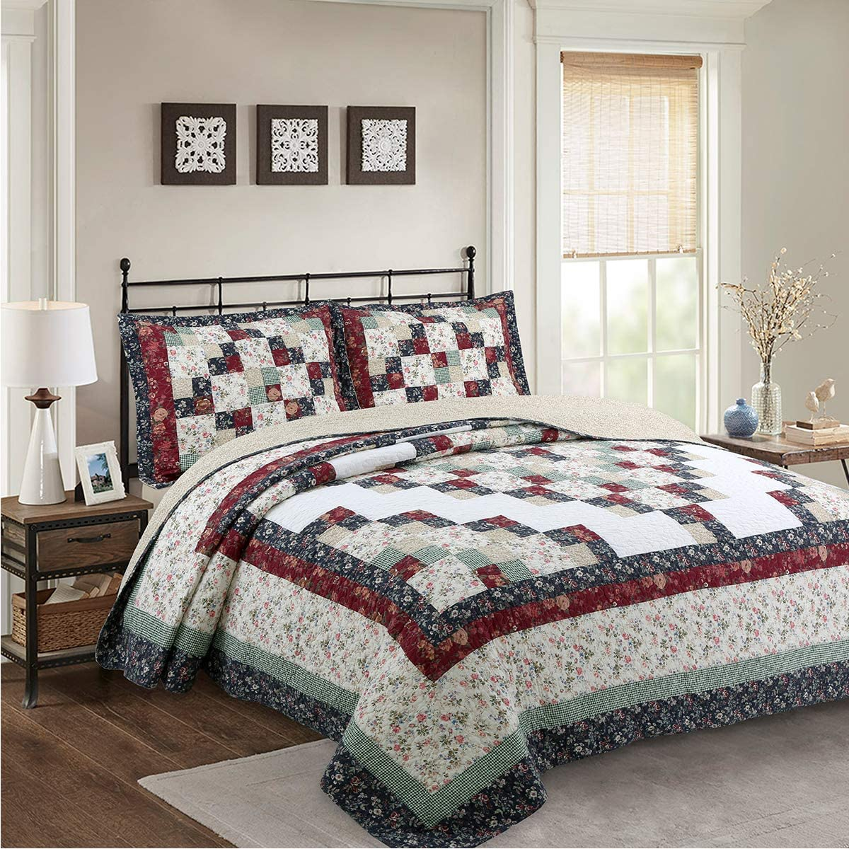 NIUDECOR 2-Piece Printed Boho Quilt Set Cotton Patchwork Coverlet Set, 1 Quilt and 1 Pillow Sham, Red, Twin