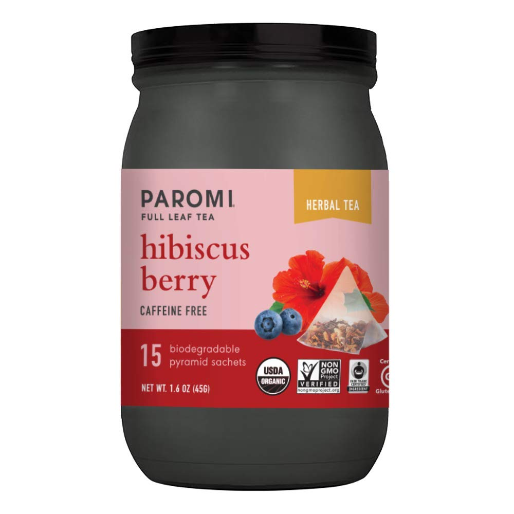 Paromi Tea Organic Hibiscus Berry Caffeine-Free Herbal Tea, 15 Pyramid Tea Bags - Non-GMO