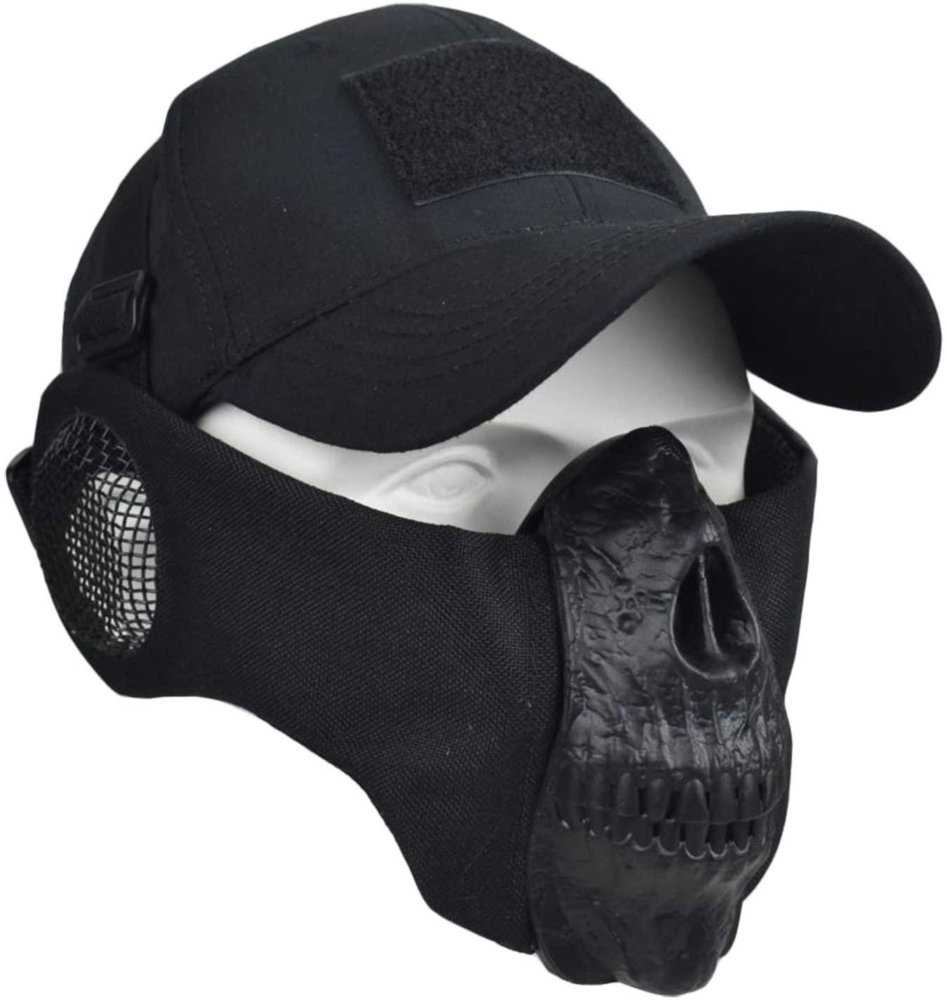 Jadedragon Airsoft Masks -Half Face Skull Mask with Ear Protection and Adjustable Baseball Cap Set for Airsoft/Paintball/BB Gun/CS Game/Hunting/Shooting