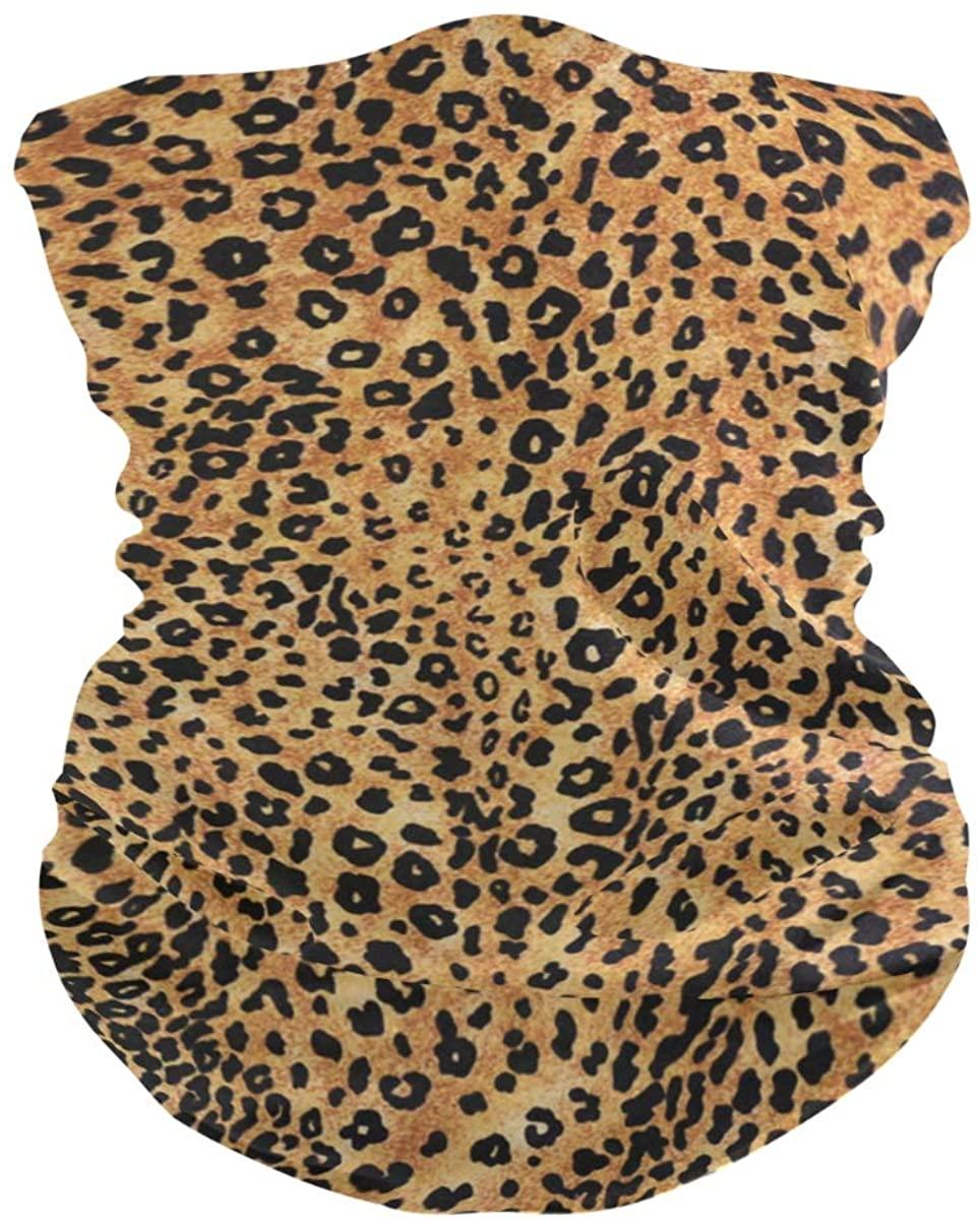 OREZI Leopard Animal Print Texture 3D Face Mask,Neck Gaiter, Headwear,Magic Scarf,Balaclava,Bandana,Headband for Outdoors,Sports,Running,Cycling