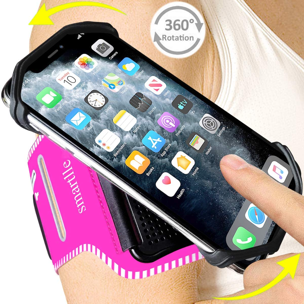 Smartlle Phone Armband, 360° Rotatable Premium Sports Armband for All Phones: iPhone 11/11 Pro/11 Pro Max/XR/XS Max/X/XS/8 7 6S Plus, Samsung Galaxy, LG, Moto, Pixel; for Running Workout Gym Jogging