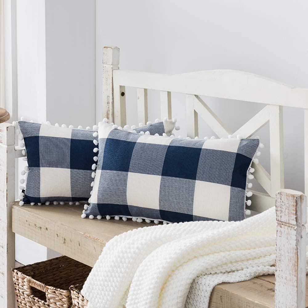 Nestinco Set of 2 Buffalo Check Pillow Covers Navy Blue and White Plaid Pom Pom Decorative Throw Pillow Covers 12 x 20 for Farmhouse Home Decor
