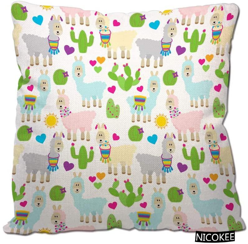 Nicokee Llama Cactus Throw Pillow Case Llama Catcus Abstract America Animal Alpaca Art Cartoon Cacti Cotton Linen Fashion Printed Throw Pillow Cover for Home Decor, Sofa, Coffee Shop